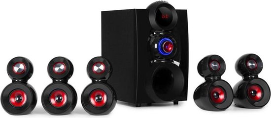 X-Gaming 5.1 surround audiosysteem 380W max. OneSide subwoofer BT USB SD