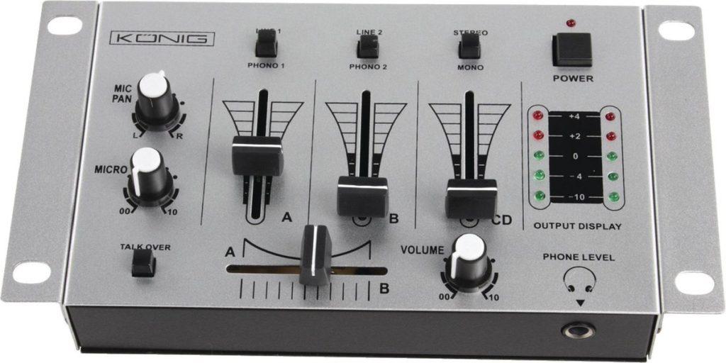 König KN-DJMIXER10 - 3-kanaals Dj Mixer - Grijs