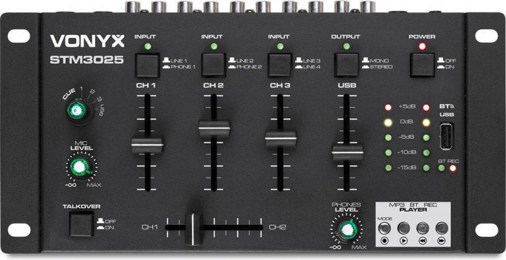 Beste DJ Mixer 2021 - Top 10 getest! - Mengpaneel - Vonyx STM3025B 4-kanaals mengpaneel met Bluetooth en USB mp3 speler